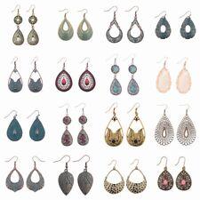 Vintage Crystal Bronze Silver Gold WaterDrop Dangle Women Fashion Ethnic Earring