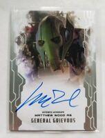 Star Wars Masterwork 2017 Autograph Card Matthew Wood as General Grievous