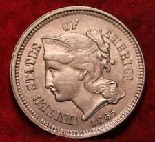 Uncirculated 1865 Philadelphia Mint Nickel Three Cent Coin
