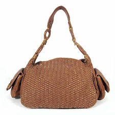 COLE HAAN Authentic Large Brown Woven Leather Satchel Hand Bag