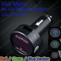 12v 24v Digital LED Volt Meter Voltage Gauge Monitor Auto Car Cigarette Lighter