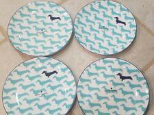 "New Kate Spade 9"" Lenox  Wickford DACHSHUND dog Salad dessert Plate Turquoise"