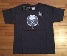 NWT Majestic Boys L NHL Buffalo Sabres SS Paddle T-Shirt Glows In Dark