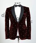 Men's Formal Party Pearly Suits Velvet Groomsman Best Man Wedding Tuxedos Slim