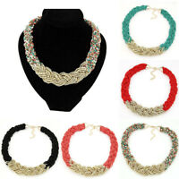 Bohemia Seed Beads Necklace Multi Layer Bib Statement Chain Womens Jewelry