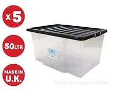 5x 50LITRE PLASTIC STORAGE BOX, QUALITY CONTAINER WITH BLACK LID!!!