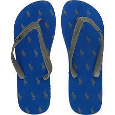 POLO RALPH LAUREN Blue Logo Print Flip Flops. Size 7.