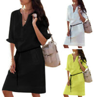 Women Shirt Dress Soild Color Button V Neck Long Sleeve Dress Ladies Loose R4P4