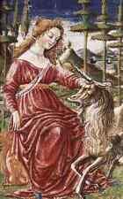 Signe en métal Francesco di Giorgio Martini Chasity à la licorne A4 12x8 ALUMINI