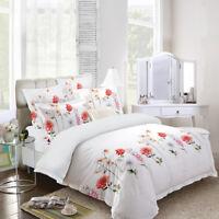 Single/Double/Queen/King/Super K 100% Cotton Quilt/Duvet Cover Set-White Garden