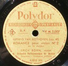 Beethoven Romances Erich Röhn Leitner ED1 Polydor France 78 trs RPM NM -