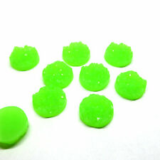 10 x Bright Green Druzy 11.5 - 12mm Cabochon Perfect for Earrings.
