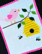 Crochet Patterns - BIRDS AND THE BEES Color Graph/Chart Afghan PATTERN