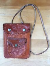 Jerusalem Brown Leather Embossed Cross Body Small Travel Pouch Purse