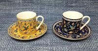 2 Lot Silk Road Takahashi Demitasse Cups Saucers Sets Bird Floral EUC