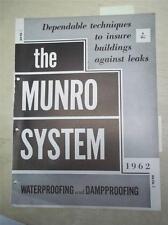 Munro Waterproofings Catalog~Asbestos Flashing Mastics/Pre-Formed Units~1962
