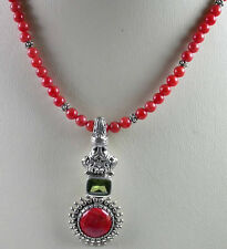Coral and Peridot Necklace in Sterling Silver Elegant Handcrafted Jewelry