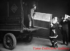 Santa Unloading a Railway Express Truck - c1920s- Historic Christmas Photo Print