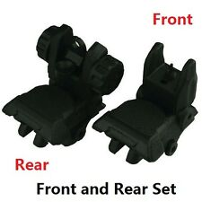 Sniper Folding Iron Sight Tower Set Front and Rear BUIS Combo Set; Polymer Black
