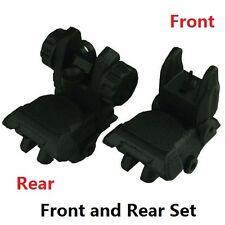 BLACK Polymer Spring Loaded Flip Up Folding Front & Rear BUIS Back Up Sight Set