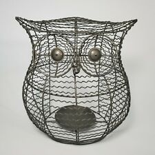 """Pottery barn Metal Wire Owl Candle Holder Large Decor 8.5"""" Tall Modern Style"""
