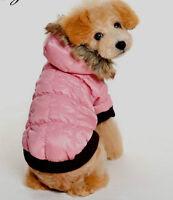 sehr warme Hundejacke Winterjacke Steppjacke mit Kapuze+Fell Hund Mantel M L