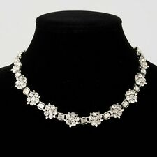 Vintage Signed Lisner Clear Rhinestone Flower Choker Necklace Costume Jewelry