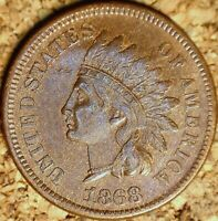 1868 Indian Head Cent - EXTRA FINE, SEMI-KEY COIN, Old Cleaning  (M047)