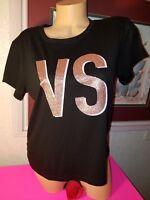Victoria's Secret  TEE SHIRT  Black Rose Gold  Glitter Graphic VS  $29.50