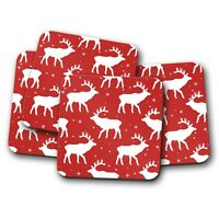 4 Set - Red Reindeer Coaster - Christmas Snow Flake Deer Stag Xmas Gift #14411