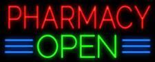 """Pharmacy Open Neon Lamp Sign 17""""x14"""" Bar Light Glass Artwork"""