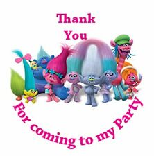 Trolls 35 Stickers - Birthday Party, Thank You, Sweet Cone Labels
