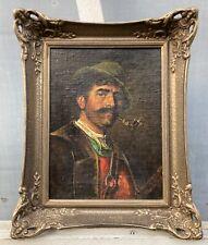 Ölbild mit Prunkrahmen Porträt Mann mit Hut Bayern signiert Vintage Antik