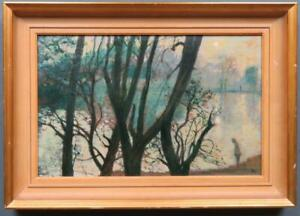 GEORGE MANCHESTER ARCA (1922-96) original Impressionist Oil Painting MISTY LAKE