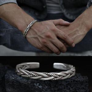 Mens Vintage Open Bangle 925 Sterling Silver Thai Handmade Twisted Cuff Bracelet