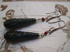 Orecchini vintage gocce intagliate resina nera e swarovski carved earrings