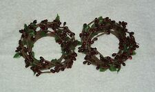2 Burgundy Red Primitive Pip Berry Leaves Taper Candle Rings 2 Inch Opening