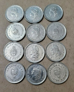 Argentina 1 Peso, Lot of 12 Nickel clad steel coins from 1957-1960, KM# 57 & 58