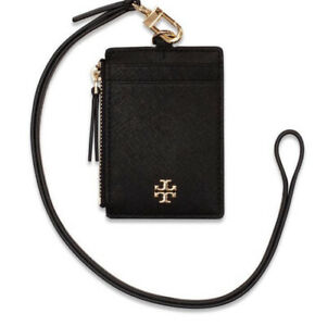 Tory Burch NWT Emerson Lanyard ID Credit Card Holder Black Saffiano Leather