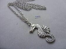 "A  Seahorse Tibetan Silver Charm Pendant, Long ( 30"" ) Chain Necklace"