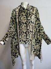 ETRO velvet beige & black geo-print drape neck top with wrap/ scarf sz 42