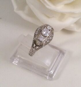 Vintage Jewellery Gold Ring White Sapphires Antique Deco Dress Jewelry size 8