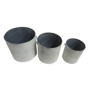Set of 3 White Metal Buckets with Handles, Featuring 'Merry Christmas' Display