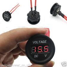 12v 24v circular de montaje del panel LED rojo voltímetro A Prueba De Agua 30 Mm Orificio redondo