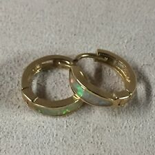 14K Yellow Gold  Fire Opal Baby Huggie Hoop Earrings