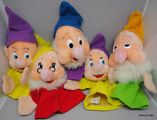 Disney Hand Puppet x 5 Doc Dopey Sleepy Happy Plush Snowhite Dwarfs 1960s Korea