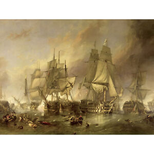 Stanfield The Battle Of Trafalgar Painting XL Wall Art Canvas Print