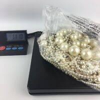 1.1kg Pearl Tone Bead Jewellery Necklaces - Mixed Costume Vintage Bundle Job Lot