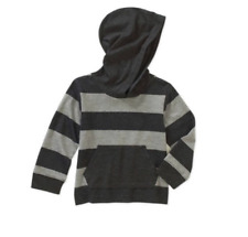 Healthtex Baby Toddler Boys' Jersey Hoodie Stripe Tee, Grey/Black, Size 3T