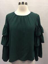 Madewell Silk Ruffle-sleeve Top Forest Green Sz XS XSmall H3469 $110 New
